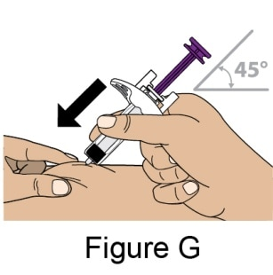 Insert the entire Needle into the pinched area of the skin at a slight 45-degree angle using a dart-like motion.