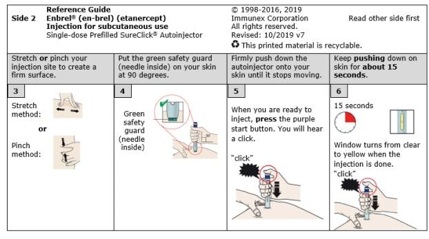 Quick reference guide for Enbrel single-dose prefilled SureClick autoinjector side 2 image.