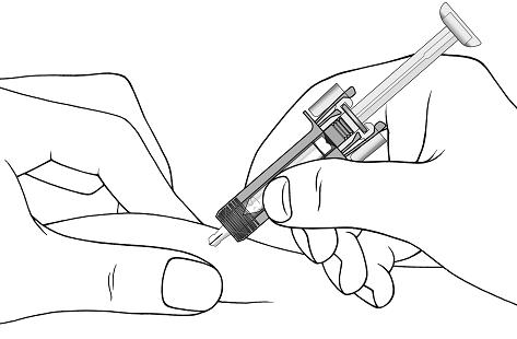 With one hand gently pinch the skin at the injection site. With your other hand insert the needle into your skin as shown.