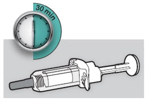 Lay the Dupixent Syringe on a flat surface and let it naturally warm to room temperature for at least 30 minutes.