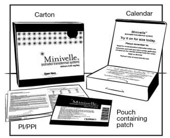 Minivelle supplies include carton, calendar, pouch containing patch and written instructions.