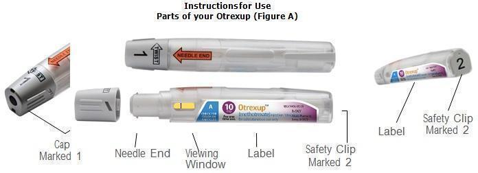 Image displaying the parts of an Otrexup pen.