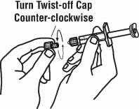 Remove the twist-off cap from the prefilled diluent syringe by turning counter-clockwise image.