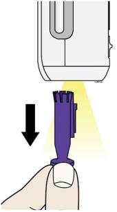 When you are ready to inject, pull the purple cap straight down and off. Do not leave the purple cap off for more than 5 minutes. This can dry out the medicine image.