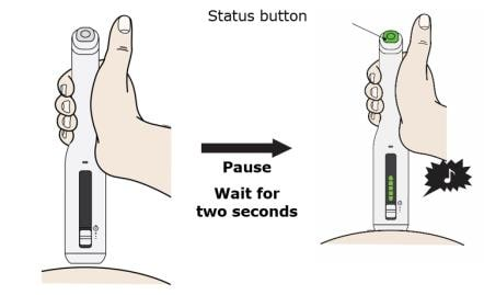 Place and hold on the skin. Wait for the status button to turn green and a chime to sound image.