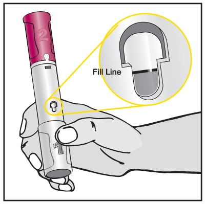 Make sure the amount of liquid in the Pen is at the fill line or close to the fill line seen through the window. This is the full dose of Humira that you will inject.