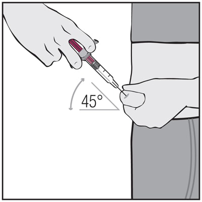 Using a quick, dart-like motion, insert the needle into the squeezed skin at about a 45-degree angle.