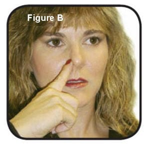 With your head in an upright position, gently close one nostril with your index finger and breath out gently through your mouth.