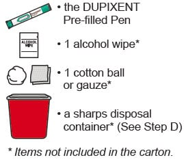 Gather supplies including the Dupixent pre-filled pen, 1 alcohol wipe, 1 cotton ball or gauze and a sharps disposal container.