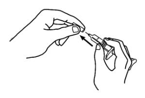 Hold the barrel of the prefilled syringe with one hand and pull the needle cover straight off, only when you are ready to inject image.