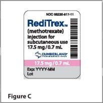 Image of expiration date displayed on RediTrex packaging.