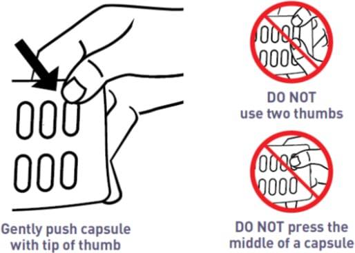 Gently push the capsule out with one thumb to remove. Do not use two thumbs and do not press the middle of the capsule. Only press the tip of the capsule.