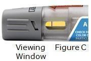 Look in the viewing window of your Otrexup pen and make sure the liquid is yellow and does not contain lumps or particles. Air bubbles are normal.