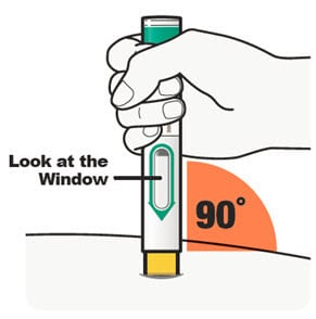 Hold the Dupixent pre-filled pen so that you can see the window on the pen. Place the yellow needle cover on your skin and hold the pen at a 90-degree angle.