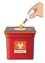 Sharps container for disposal of Zembrace SymTouch autoinjector.