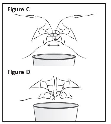 Hold a Zokinvy capsule above the clean cup containing the liquid or applesauce. Hold the Zokinvy capsule on both sides between your thumb and forefinger. Gently twist and pull apart the capsule (See Figure C). Empty the contents of the capsule directly into the clean cup (See Figure D).