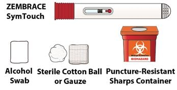 Gather the autoinjector, alcohol swab, sterile cotton ball or gauze and puncture-resistant sharps container.