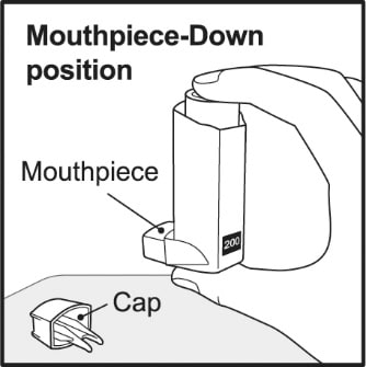 Hold your Ventolin HFA inhaler with the mouthpiece down and shake it well.