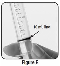 Check the oral syringe to make sure it is filled with water up to the 10 mL line.