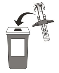 Put your used syringe in an FDA-cleared sharps disposal container immediately after use.