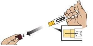 While holding the Zembrace SymTouch autoinjector in one hand pull the red cap off.