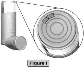 Alvesco inhaler dose indicator displays '0' when it is empty.