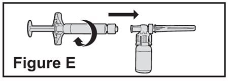 Connect the pre-filled diluent syringe to the vial adapter by turning clockwise until resistance is felt and the attachment is secure. This forms the syringe assembly.image