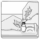 Place the vial back in the vial holder.  6. Use an alcohol wipe to clean the top of the vial (Figure 6). Wipe in one direction only.image