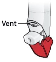 Do not block the vent above the mouthpiece of your ProAir RespiClick inhaler with your fingers or lips.