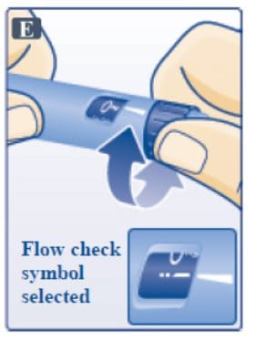 Turn dose selector until flow check symbol - - lines up with pointer. Do this only Once for each new pen. Image.