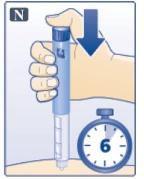 Keep the dose button pressed down and make sure that you keep the needle under the skin for a full count of 6 seconds. Keep your thumb on the injection button until you remove the needle from your skin image.