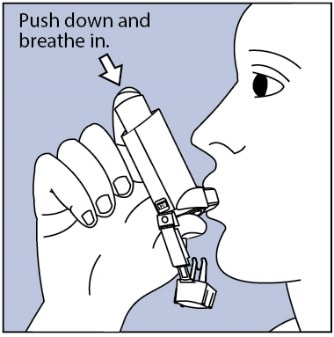 Put mouthpiece in your mouth and close lips around it. Push the top of the metal canister all the way down while you breathe in deeply and slowly through your mouth.