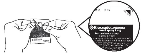 Peel back the tab with the black triangle to open the nasal spray blister.image
