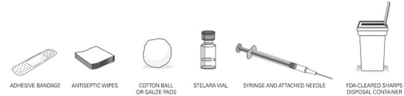 Gather the supplies you will need to prepare Stelara and to give your injection. You will need: a syringe with the needle attached, you will need a prescription from your healthcare provider to get syringes with the needles attached from your pharmacy. antiseptic wipes, cotton balls or gauze pads, adhesive bandage, your prescribed dose of Stelara, FDA-cleared sharps disposal container. image