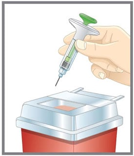 Put the used Taltz prefilled syringe in a FDA-cleared sharps disposal container right away after use. Do not throw away (dispose of) the Taltz prefilled syringe in your household trash.image