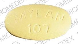 Imprint MYLAN 107 - erythromycin 500 mg