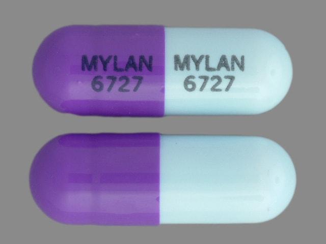 Imprint MYLAN 6727 MYLAN 6727 - zonisamide 100 mg