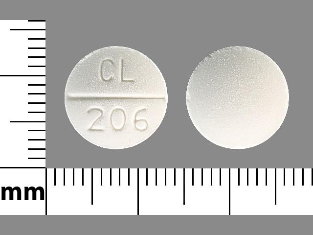 Imprint CL 206 - sodium bicarbonate 10 grain (650 mg)