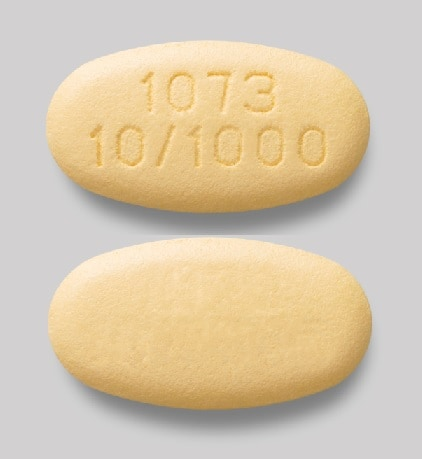 Imprint 1073 10/1000 - Xigduo XR 10 mg / 1000 mg