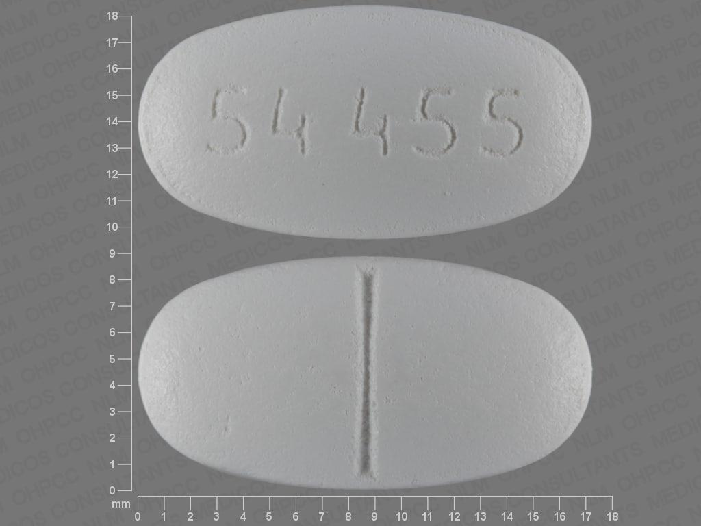 Imprint 54 455 - tinidazole 500 mg