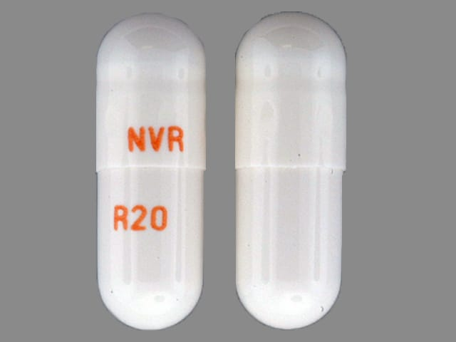 Imprint NVR R20 - Ritalin LA 20 mg