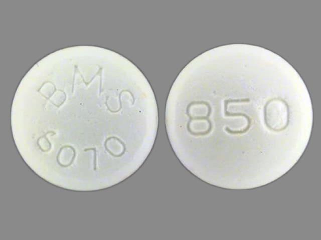 Image 1 - Imprint BMS 6070 850 - Glucophage 850 mg