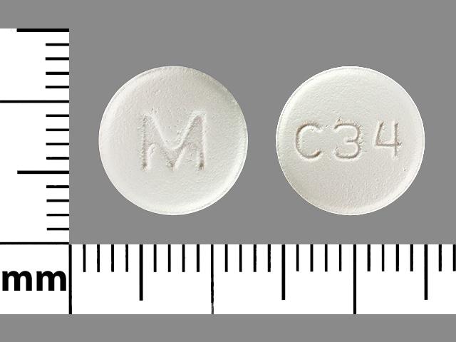 Imprint M C34 - carvedilol 25 mg