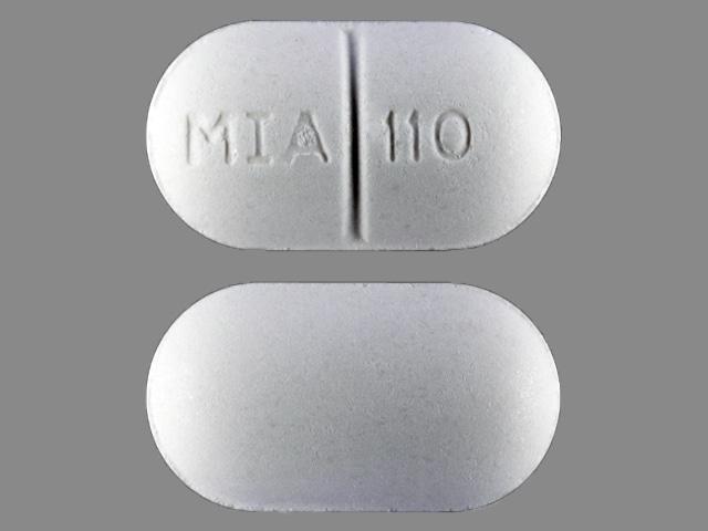 Image 1 - Imprint MIA 110 - acetaminophen/butalbital/caffeine 325 mg / 50 mg / 40 mg