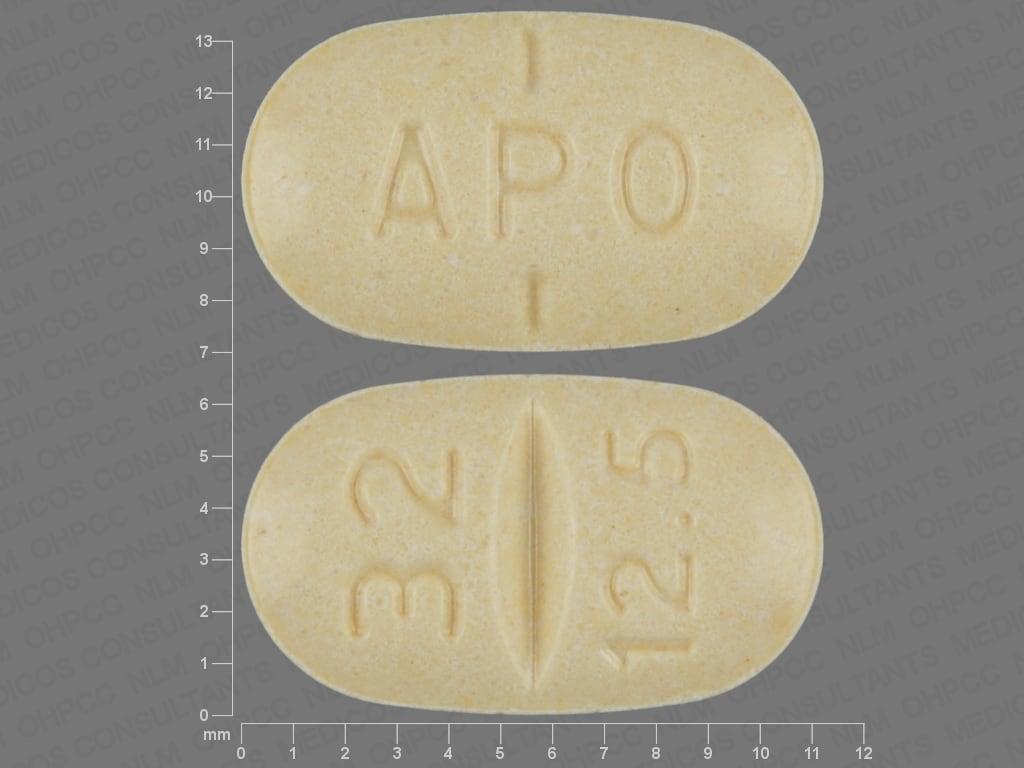 Imprint APO 32 12.5 - candesartan/hydrochlorothiazide 32 mg / 12.5 mg