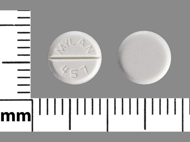 Image 1 - Imprint MYLAN 457 - lorazepam 1 mg