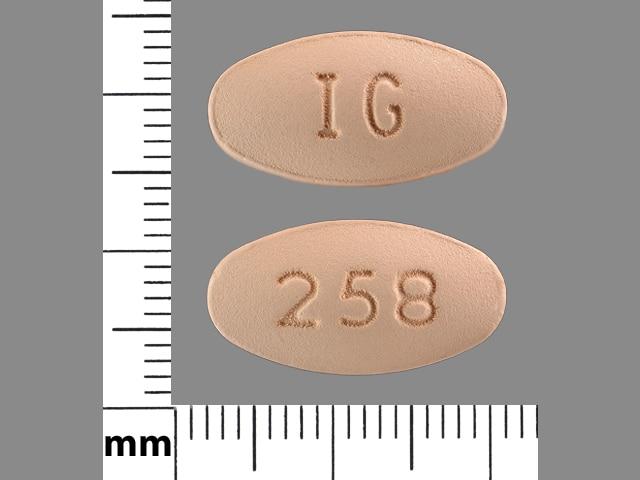 Imprint IG 258 - nabumetone 750 mg